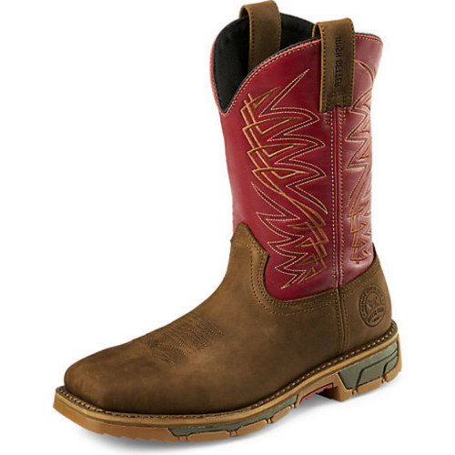 Men's Red Wing Boot, Steel Toe, Brown Square with Red Shaft