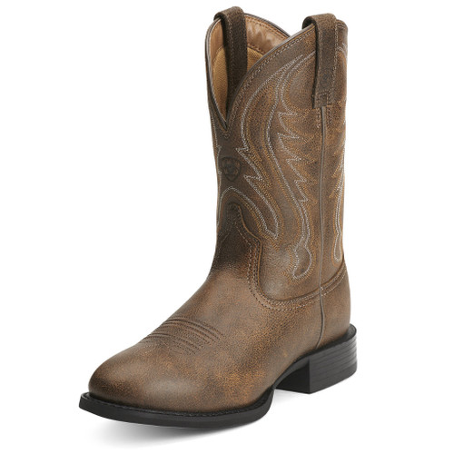 Men's Ariat Boot, Rounded Brown Toe, Short Top