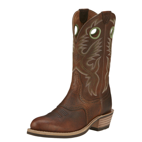 Men's Ariat Boot, Round Brown Toe, Tan Shaft