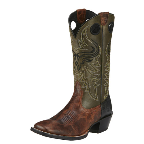 Men's Ariat Boot, Brown Vamp, Green Shaft, Wild Ride