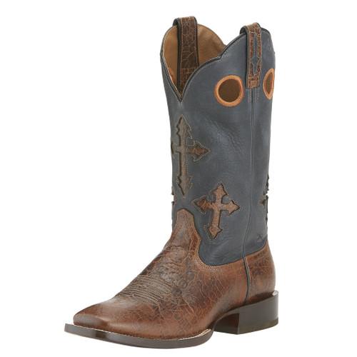 Men's Ariat Boot, Crackle Brown Vamp, Cross Inlay