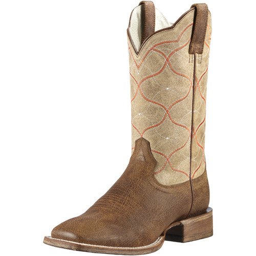 Men's Ariat Boot, Roughout Vamp, Tan w/ Orange Stitch