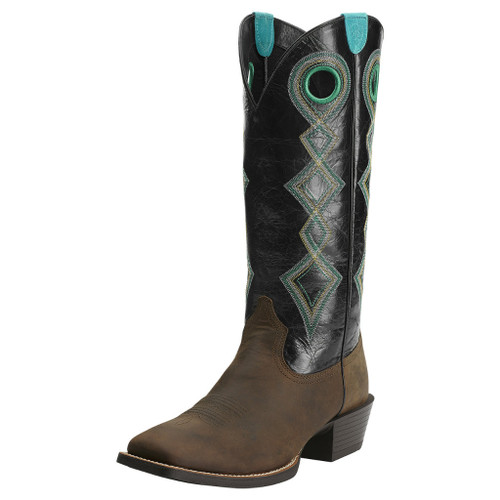 Men's Ariat Boot, Brown Vamp, Black Tall Shaft