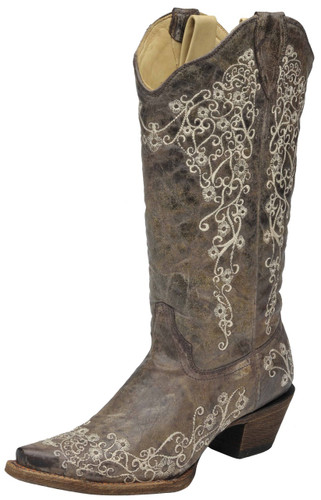 Women's Corral Boot, Brown/ White Embroidered
