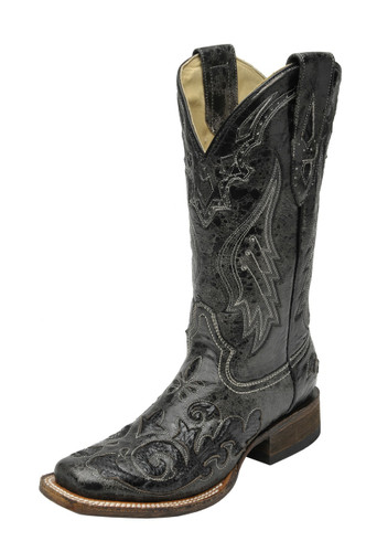 Women's Corral Boot, Black w/ Snake In Lay