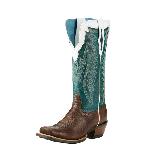 Women's Ariat Futurity Boot, Green Top, Chocolate Bottom