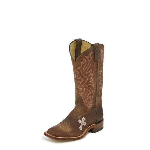Women's Tony Lama Boot, Brown w/ Pink Cross
