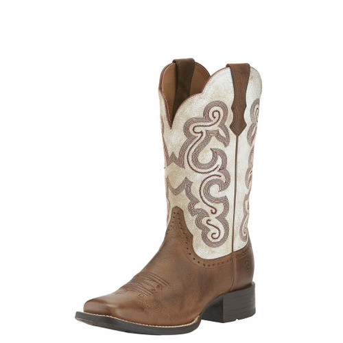 Women's Ariat Boot, Brown and Cream with Pink Stitch