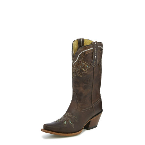 Women's Tony Lama Boot, Turquoise/White Stitching, Snip Toe