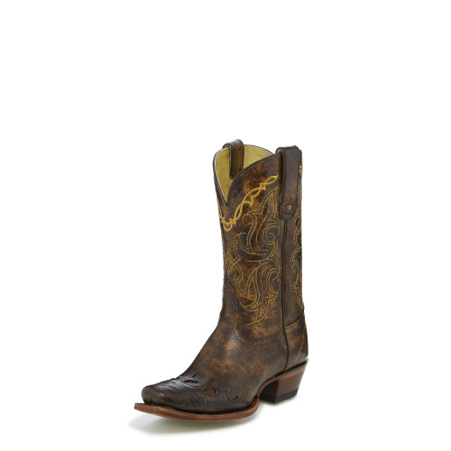 Women's Tony Lama Boot, Brown Tooled Wing Tip, Square Toe