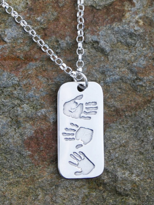 And crafted handprint footprint triple print pendant jewellery handmade fine silver print dogtag pendant with three prints and sterling silver chain our dogtag aloadofball Gallery