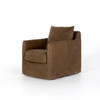 Bank Swivel Chair - Brown Leather