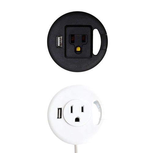 Table Top Power & USB Grommet Hole Adapter (Black or White)