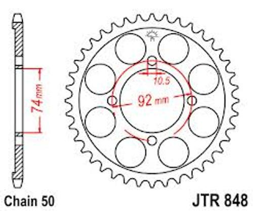 Steel Rear Sprocket DS6, DS7, R5 RD250, RD350,YR1, YR2