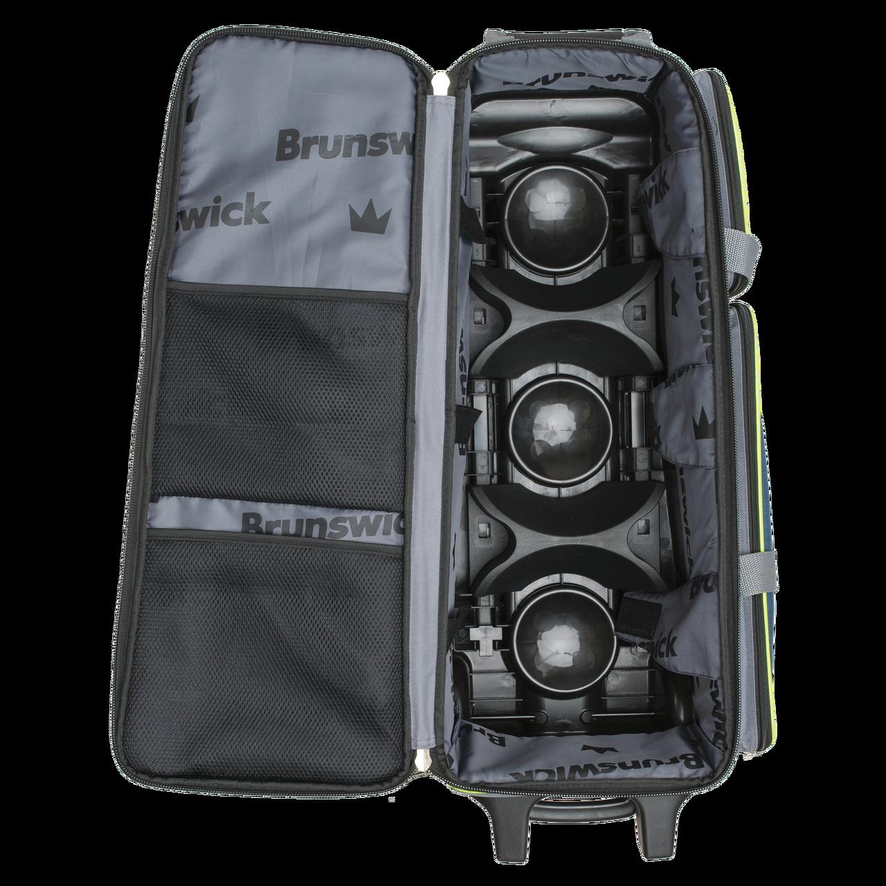 Brunswick Crown Deluxe Triple Roller Bowling Bag Purple