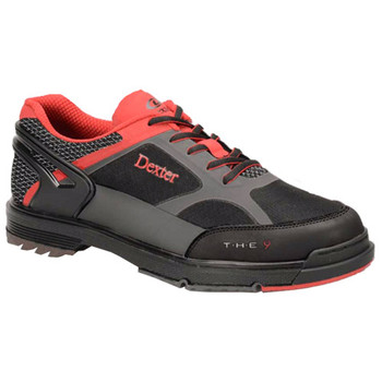 Dexter THE 9 Mens Bowling Shoes Black/Red/Grey WIDE