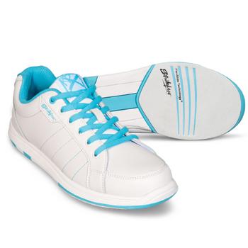 KR Strikeforce Satin Womens Bowling Shoes White/Aqua WIDE