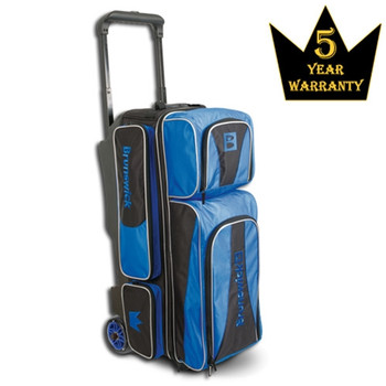 Brunswick Crown Triple Roller Bowling Bag - Royal