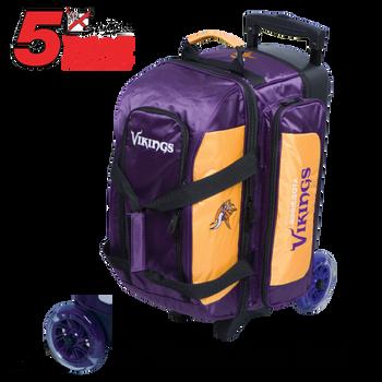 KR Strikeforce NFL Minnesota Vikings 2 Ball Roller Bowling Bag Standing