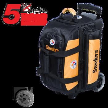 KR Strikeforce NFL Pittsburgh Steelers 2 Ball Roller Bowling Bag Standing