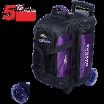 KR Strikeforce NFL Baltimore Ravens 2 Ball Roller Bowling Bag Standing