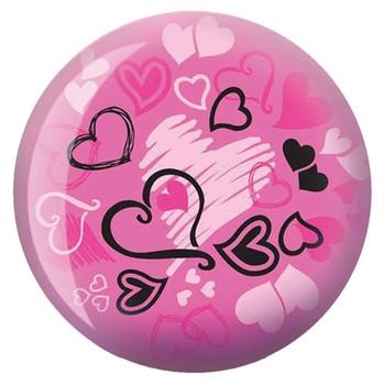 Brunswick Viz-A-Ball Hearts Glow Bowling Ball front