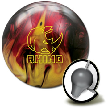 Brunswick Rhino Bowling Ball and core - Red/Black/Gold Pearl