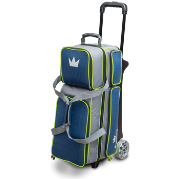 Brunswick Crown Deluxe Triple Roller Bowling Bag - Navy/Lime