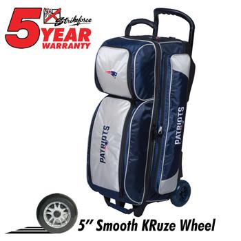 KR Strikeforce NFL New England Patriots Triple Roller Bowling Bag