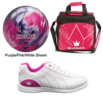 Brunswick Girls Rhino Bowling Ball, Bag and Shoes Package