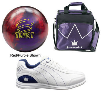 Brunswick Womens Twist Bowling Ball, Bag and Shoes Package