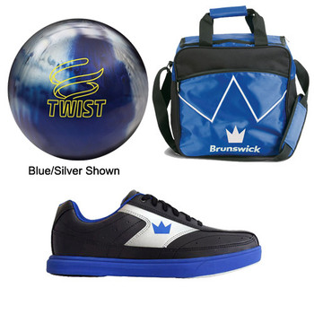 Brunswick Mens Twist Bowling Ball, Bag and Shoes Package