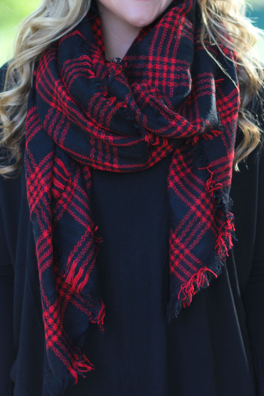 57e1942cb66 Time   Time Again Blanket Scarf  Red Black - Lavish Boutique