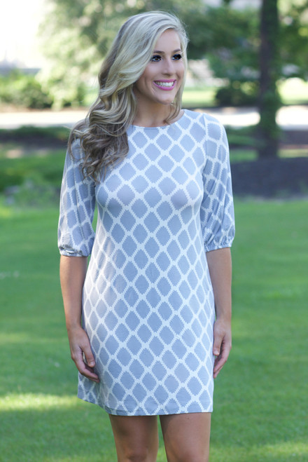 Right Time Dress: Gray/White