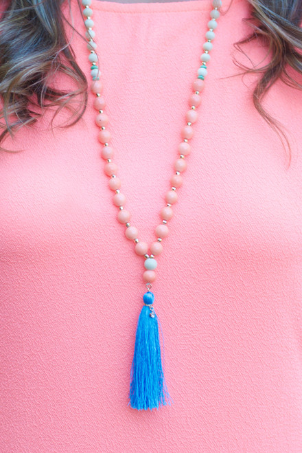 Best Of All Necklace: Coral/Blue