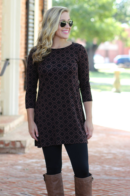 Simple Life Tunic: Black/Brown