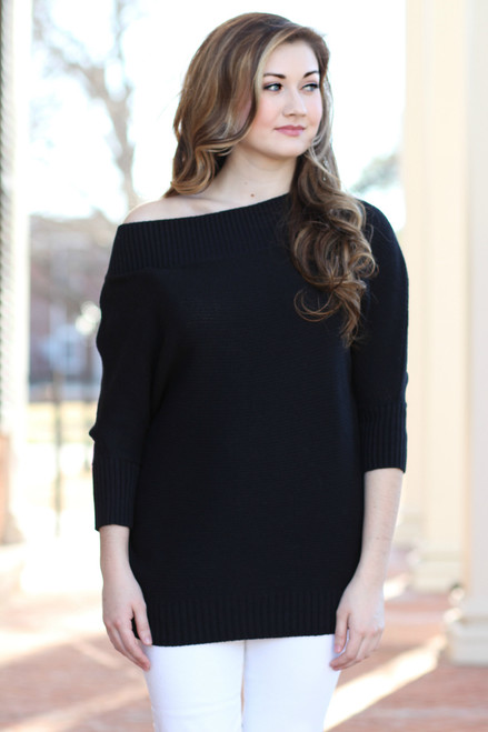 Off The Shoulder Sweater: Black