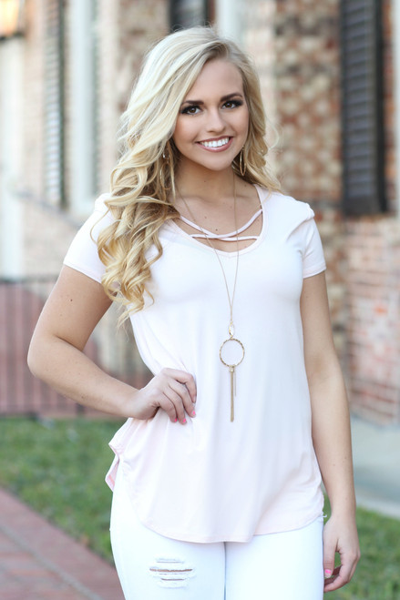 Criss Cross Top: Blush