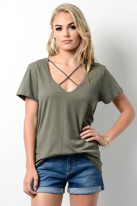 Criss Cross Top: Olive