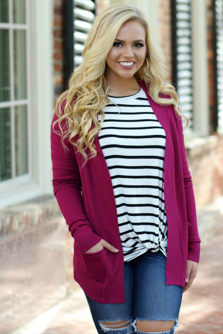 All Day Favorite Cardigan: Magenta