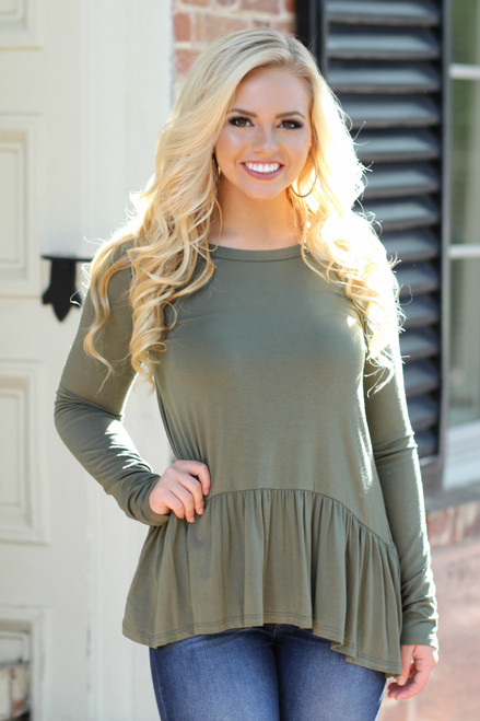 Peplum Top: Olive