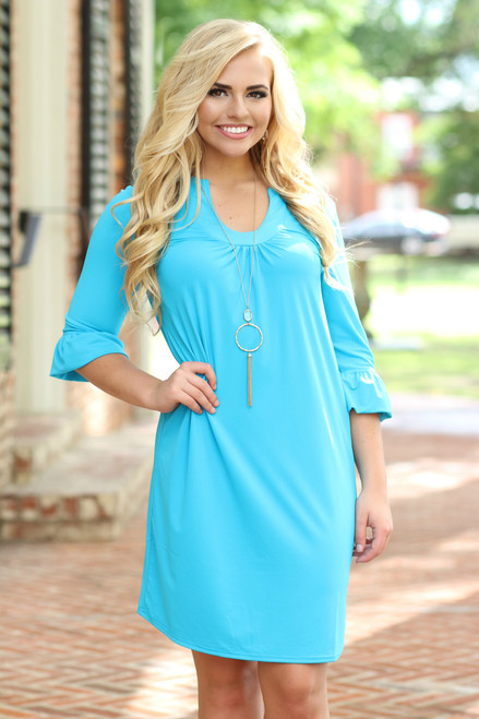 Perfect Pick Shift Dress: Turquoise