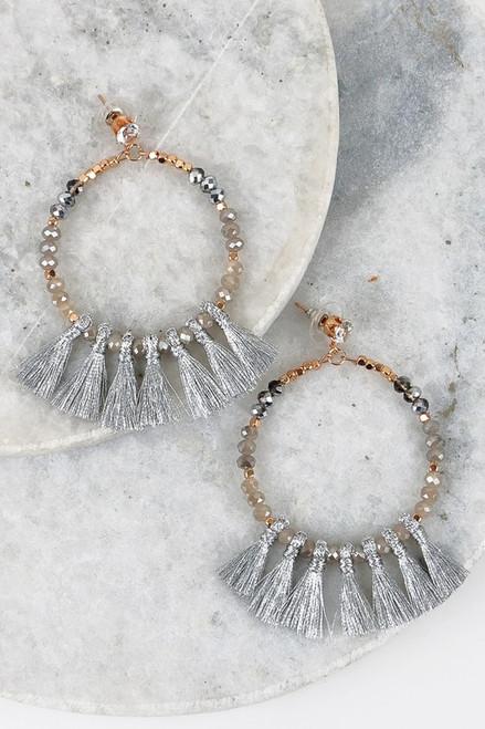 Social Butterfly Tassel Earrings: Silver