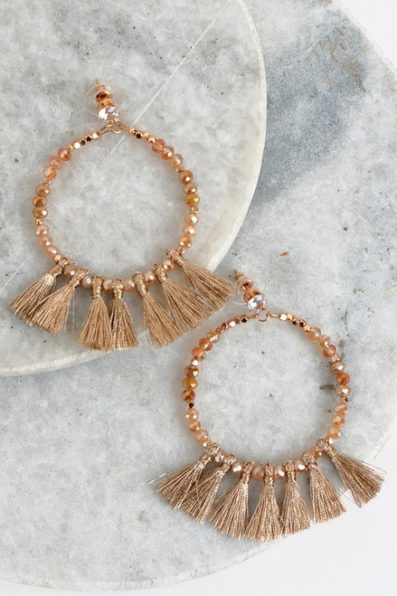 Social Butterfly Tassel Earrings: Gold