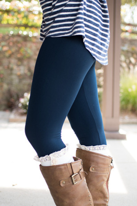 Fleece Lined Leggings: Navy
