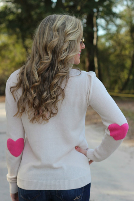 I Wear My Heart On My Sleeve Sweater: Pink