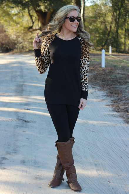 Too Cute In Leopard Top: Black