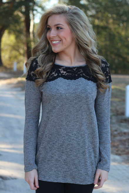 Fall Into Place Tunic: Heather Gray
