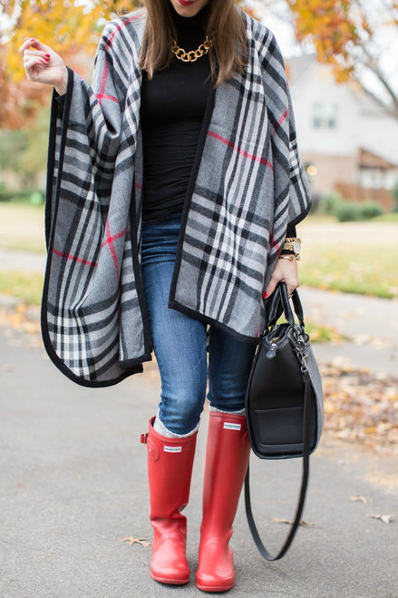 High Society Poncho: Gray