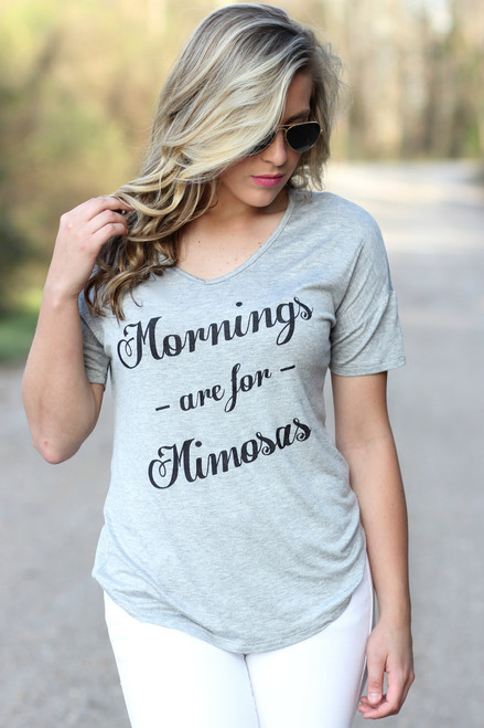Mornings Are For Mimosas Tee: Heather Gray